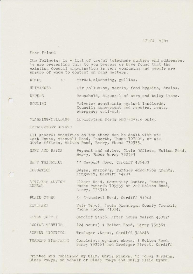 1981 Dinas Powys Spring Newsletter