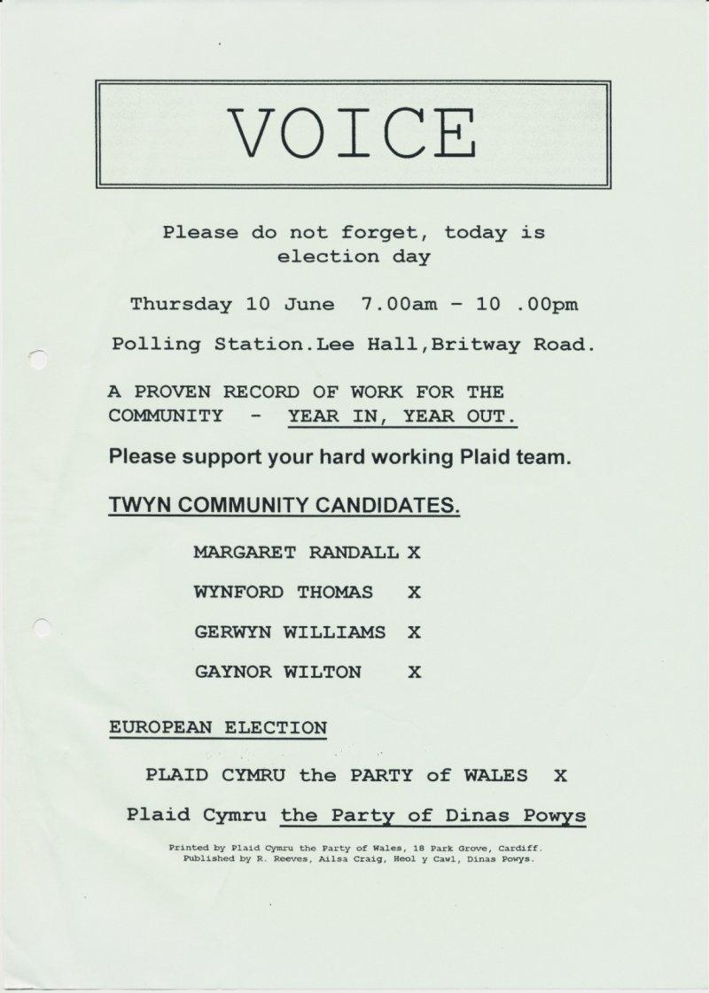 1999 Voice Twyn Dinas Powys