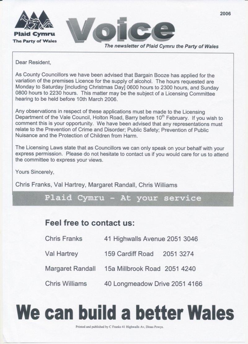 2006 Dinas Powys Bargain Booze