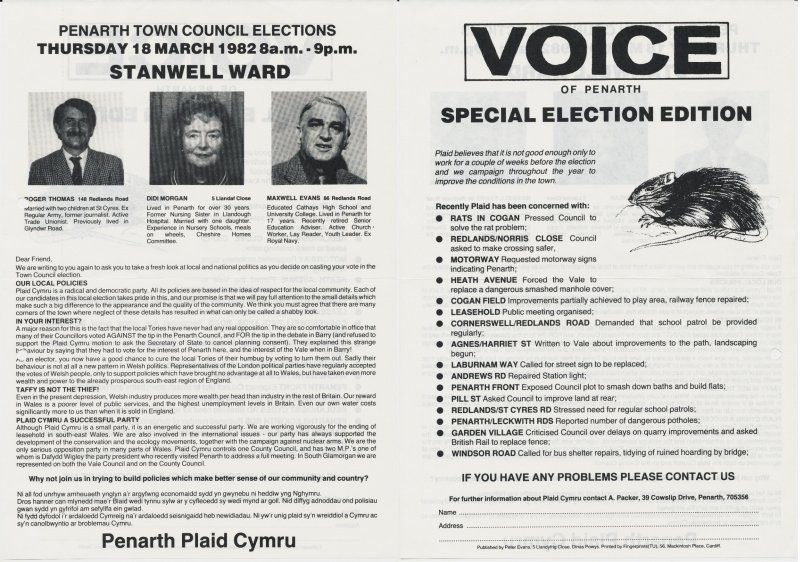 1982 Voice Penarth Stanwell
