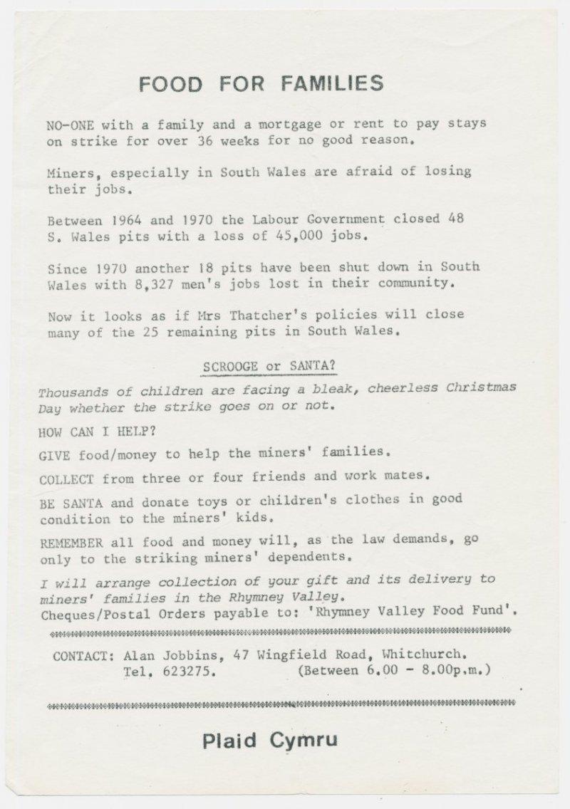 1984 Miners Food Caerdydd