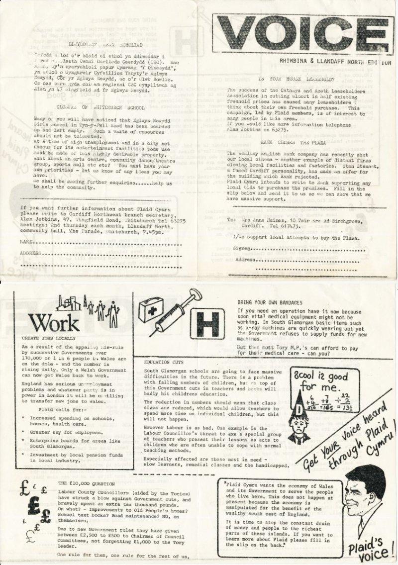 1984 Voice Rhiwbina Caerdydd