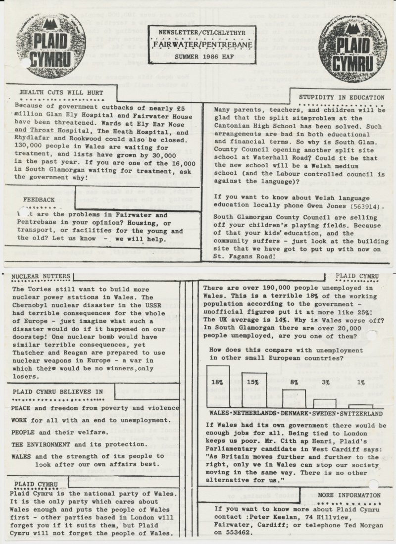 1986 Fairwater Pentrebane Newsletter