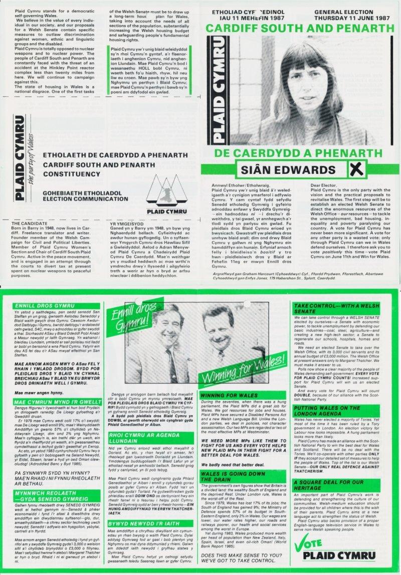 1987 De Caerdydd Sian Edwards