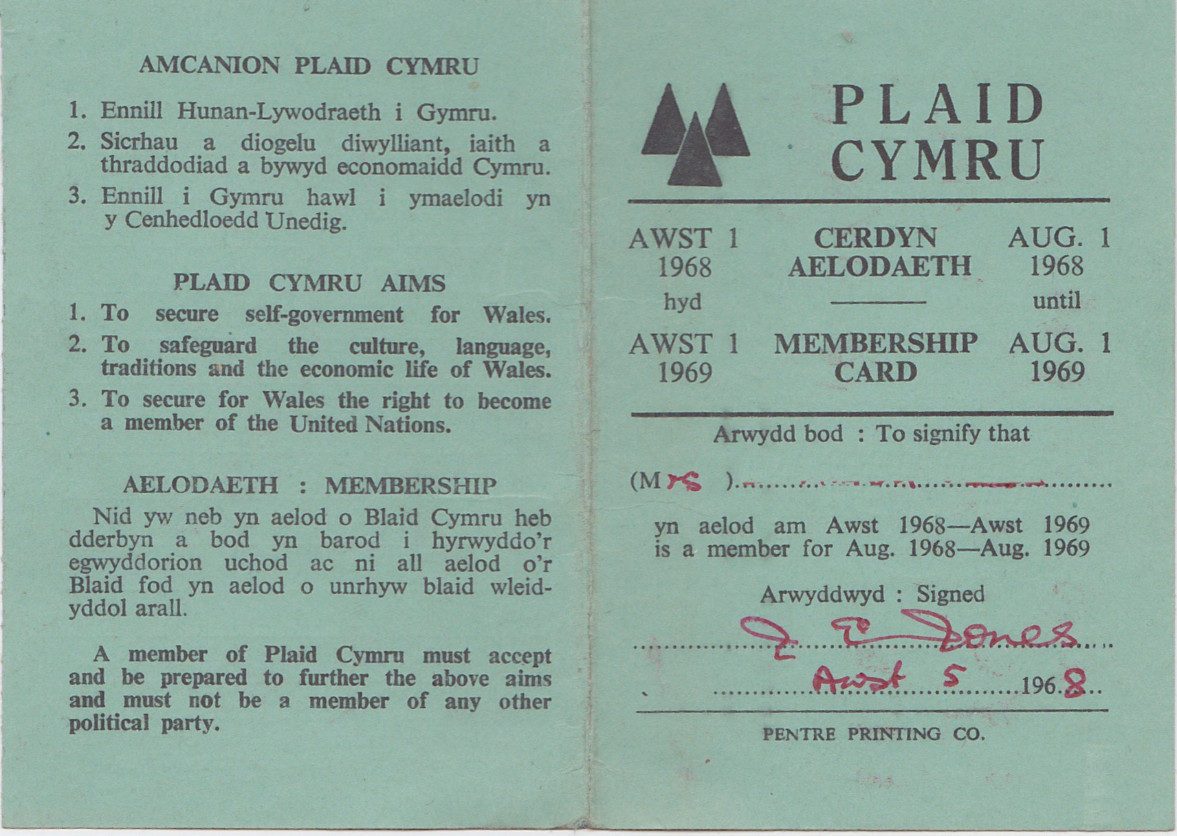 1968 Cerdyn Aelodaeth