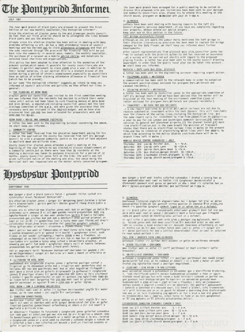 1981m07 Pontypridd Informer Clayton Jones