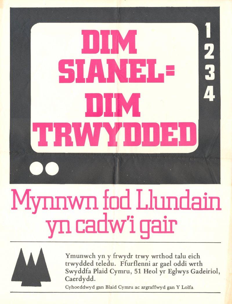 1980-Dim-Sianel-Dim-Trwydded
