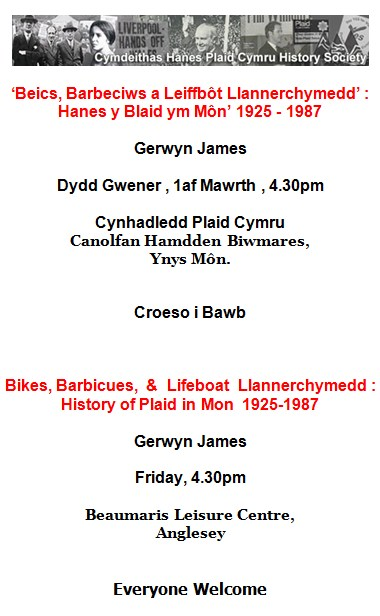 History of Plaid in Môn 1925 – 1987